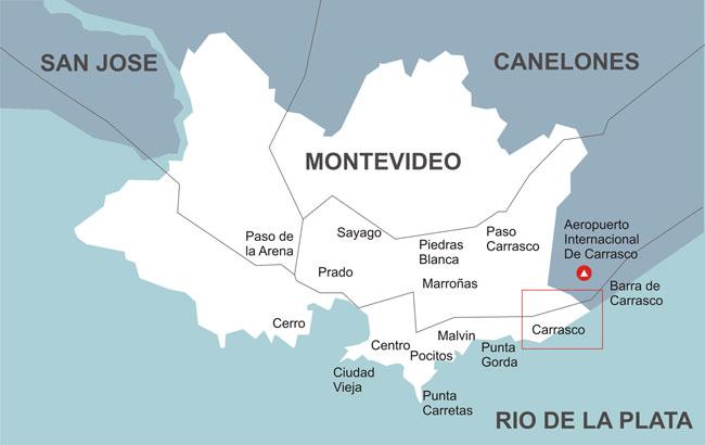 Mapa dos bairros de Montevidéu - Uruguai