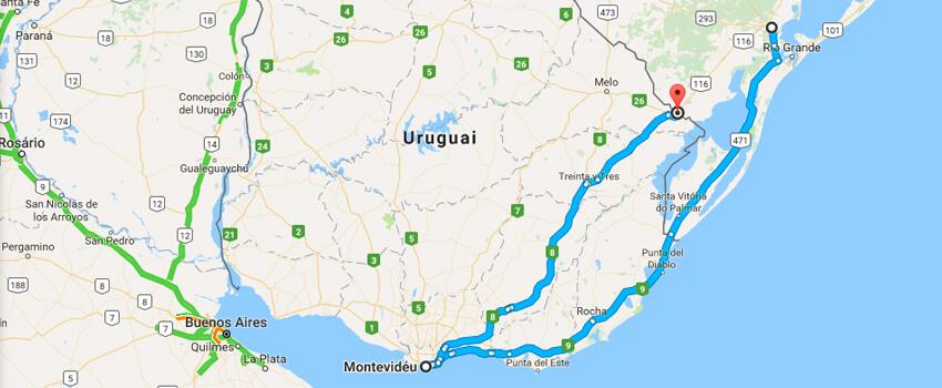 Mapa como chegar em Montevidéu