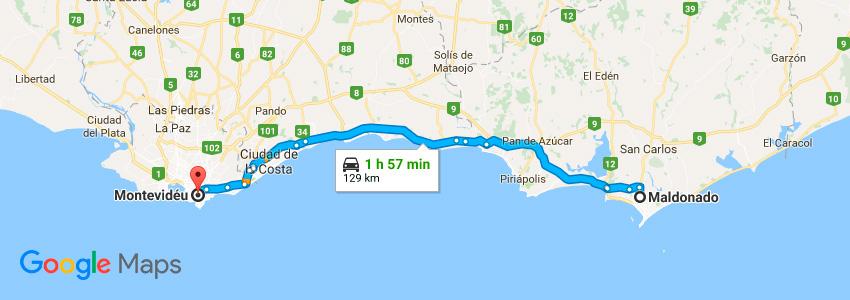 Como chegar em Maldonado de carro - Mapa - Uruguai