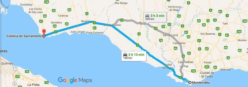 Como chegar em Colônia do Sacramento de carro - Mapa - Uruguai