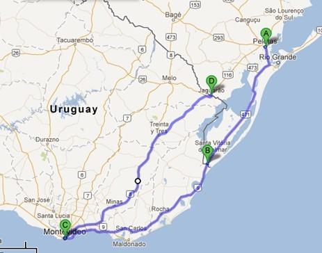 Mapa - Como chegar a Montevidéu - Uruguai - São Paulo - Porto Alegre
