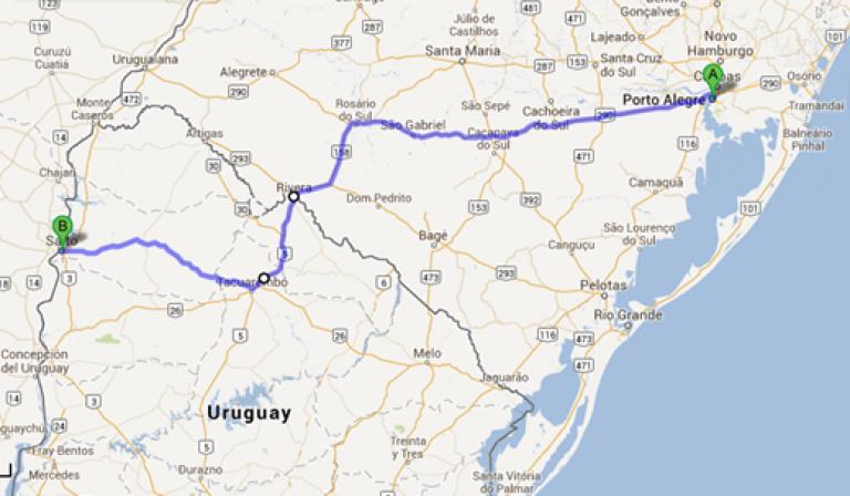 Mapa - Como chegar ao Uruguai por Rivera - Termas